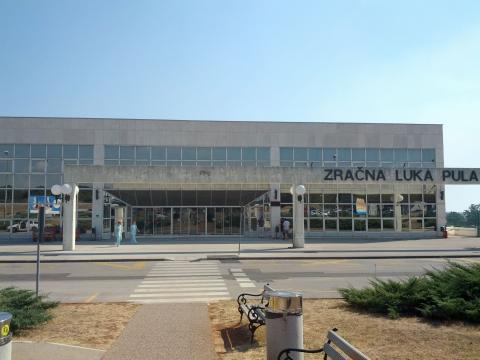 The Pula airport building entry from outside